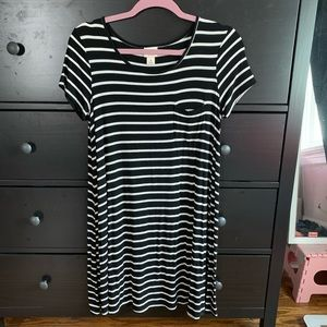 Mossimo black striped t shirt dress size medium